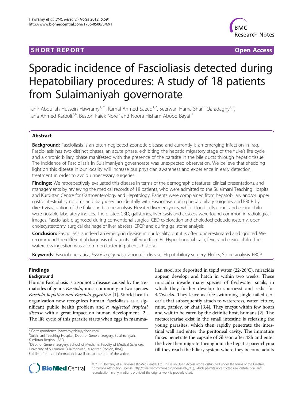 fascioliasis zoonosis