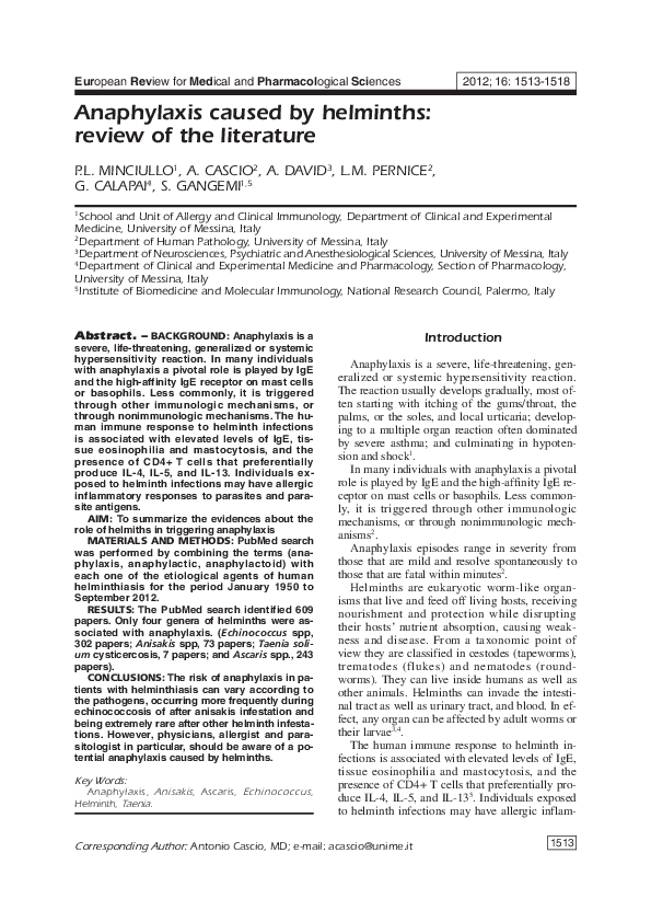 urticaria, helminthiasis fonalfereg elleni bio vedekezes